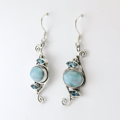 Silver 2 Blue Topaz with Larimar Earrings
