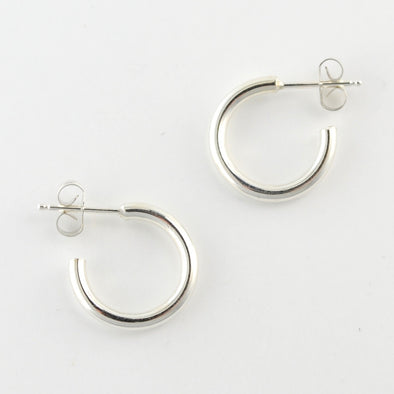 Sterling Silver Medium Heavy Circle Post Hoop