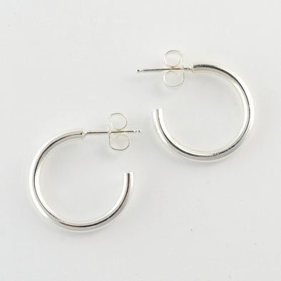Sterling Silver Large Heavy Circle Post Hoop