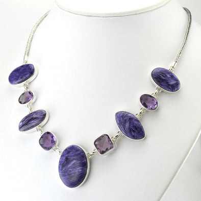 Silver Charoite and Amethyst Necklace