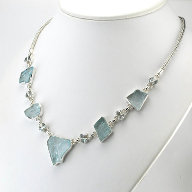 Silver Aquamarine Rough Gems and Tears Necklace