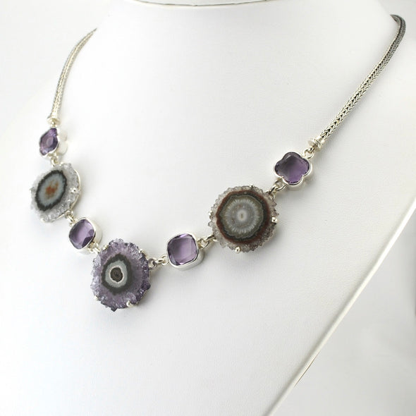 Silver Amethyst Stalactite and Facet Gems Necklace