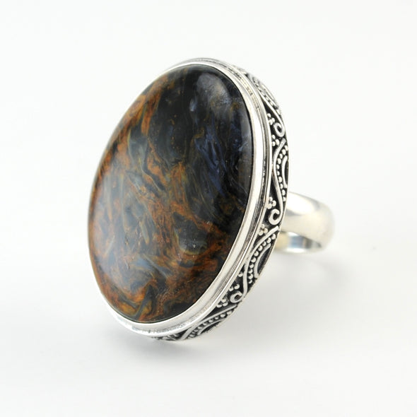 Silver Pietersite Oval Bali Ring