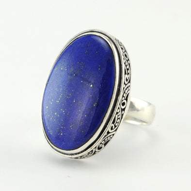 Silver Lapis Oval Bali Ring