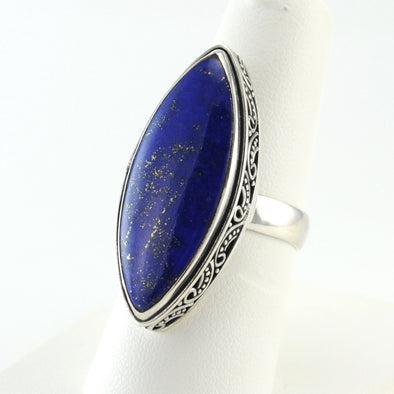 Silver Lapis Marquise Bali Ring