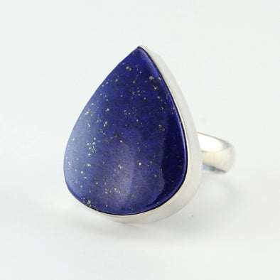 Silver Lapis Wide Tear Ring