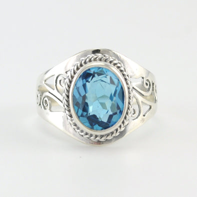 Alt View Silver Blue Topaz Oval Filigree Cutout Ring