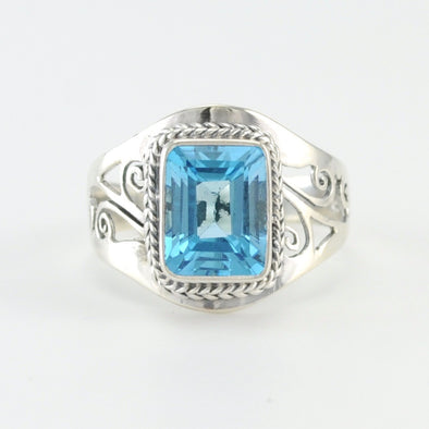 Silver Blue Topaz Rectangle Filigree Cutout Ring
