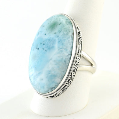 Silver Larimar Long Oval Bali Ring