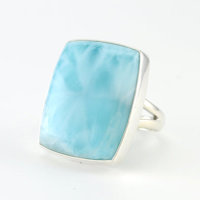 Silver Larimar Rectangle Ring