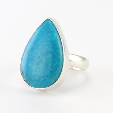 Silver Turquoise Tear Ring