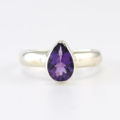 Silver Amethyst 6x9mm Tear Ring