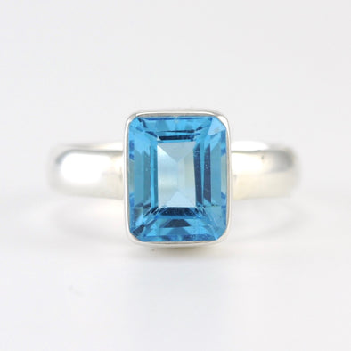 Silver Blue Topaz 7x9mm Rectangle Ring