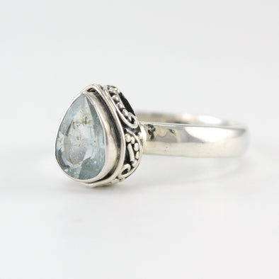 Silver Aquamarine Tear Bali Ring Size 8