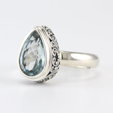 Silver Aquamarine Tear Bali Ring