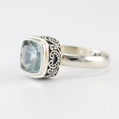 Sterling Silver Aquamarine Square Bali Ring