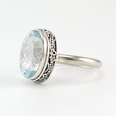 Silver Aquamarine Oval Bali Ring