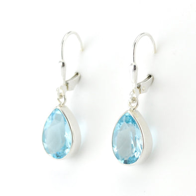 Silver Blue Topaz 8x12mm Tear Dangle Earrings
