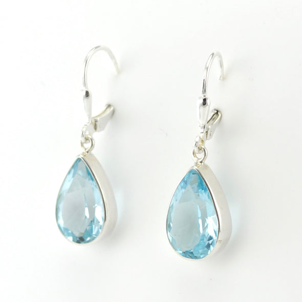 Silver Blue Topaz 10x14mm Tear Dangle Earrings