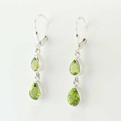 Silver Peridot 2 Tear Dangle Earrings