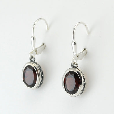 Silver Garnet 7x9mm Oval Bali Dangle Earrings