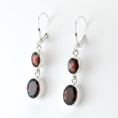 Silver Garnet 2 Oval Dangle Earrings