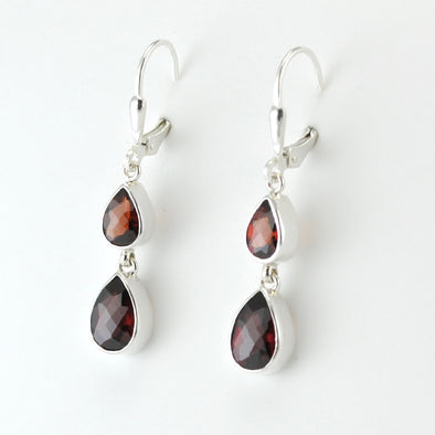Silver Garnet 2 Tear Dangle Earrings