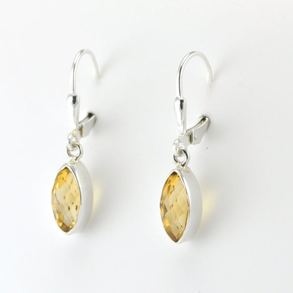 Silver Citrine 5x12mm Marquise Dangle Earrings