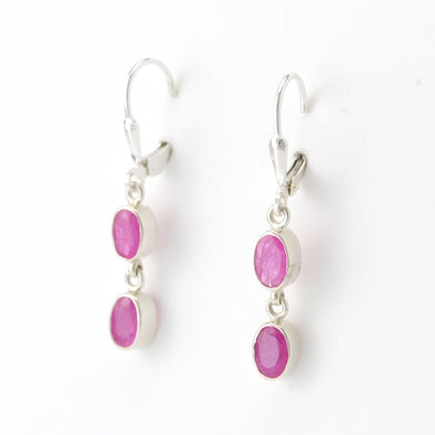 Silver Ruby 2 Oval Dangle Earrings