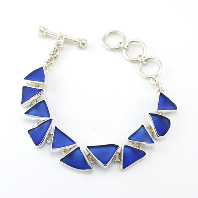Silver Recycled Glass Blue Toggle Bracelet
