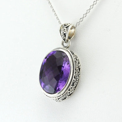 Silver Amethyst 12x16mm Oval Bali Necklace