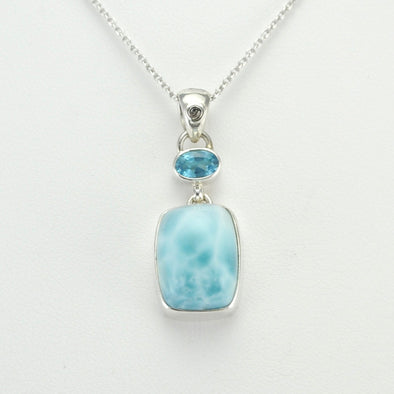 Silver Blue Topaz Oval Larimar Rectangle Necklace
