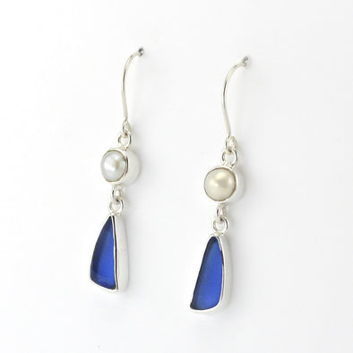 Silver Pearl Blue Sea Glass Earrings
