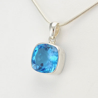 Silver Blue Topaz 11mm Square Pendant