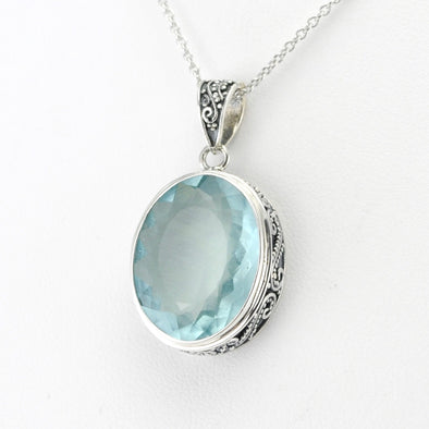 Sterling Silver Aquamarine 14x18mm Oval Bali Pendant