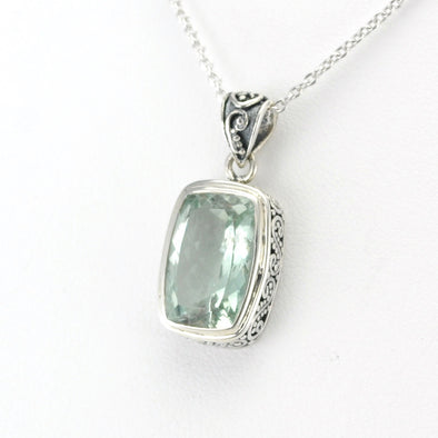 Sterling Silver Aquamarine 9x13mm Rectangle Bali Necklace