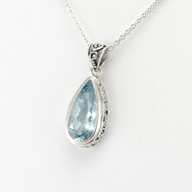 Silver Aquamarine 7x11mm Tear Bali Necklace