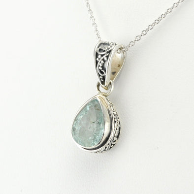 Sterling Silver Aquamarine 8x12mm Tear Bali Necklace