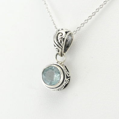Silver Aquamarine 8mm Round Bali Necklace