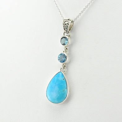 Silver Blue Topaz Arizona Turquoise Necklace