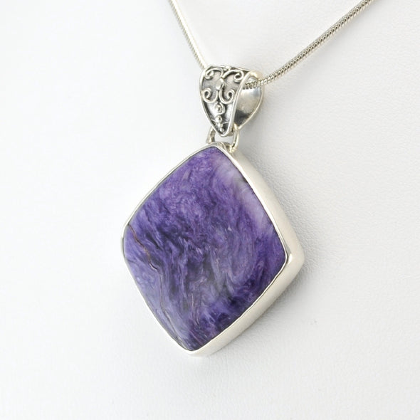 Silver Charoite Off Set Square Pendant