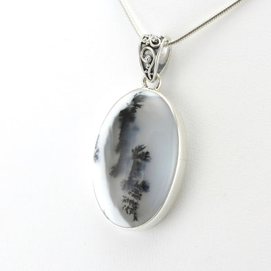 Silver Dendritic Agate 20x32mm Oval Pendant