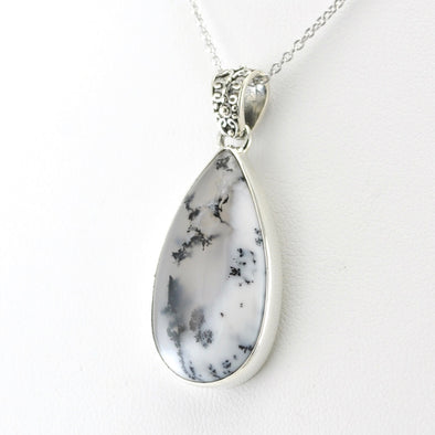 Silver Dendritic Agate 14x17mm Tear Necklace