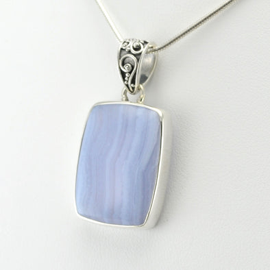 Silver Blue Lace Agate Rectangle Pendant