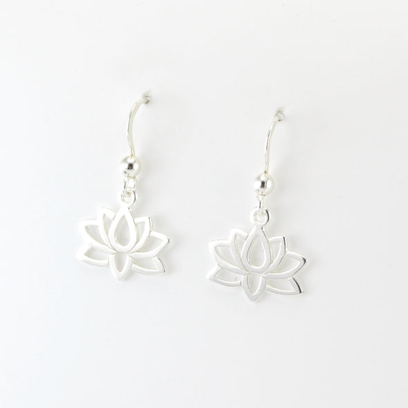 Silver Lotus Flower Dangle Earrings