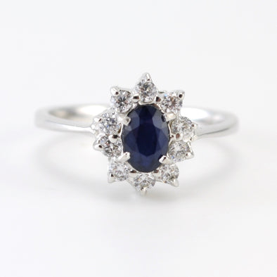 Silver Sapphire CZ Ring