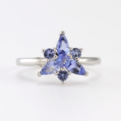 Silver Tanzanite Star Ring