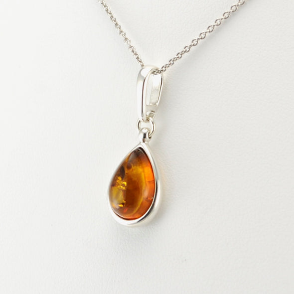 Silver Baltic Amber Teardrop Necklace