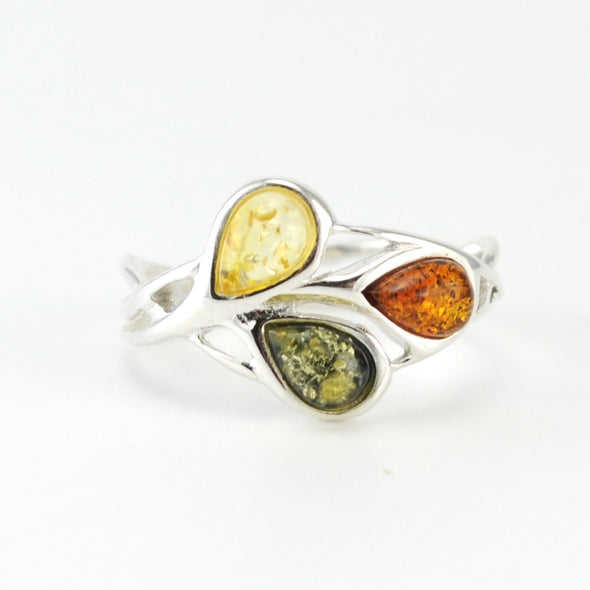 Silver Multicolored Amber Ring