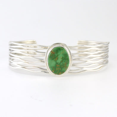 Silver Emerlad Valley Turquoise Cuff Bracelet
